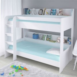 Aerial White Wooden Bunk Bed Frame