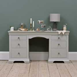 Chambery Grey Painted Double Pedestal Dressing Table