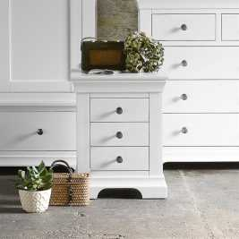 Chantilly White 3 Drawer Bedside