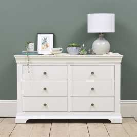 Chantilly White Low and Wide 6 Drawer Chest