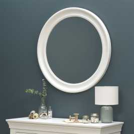 Chantilly White Round Mirror