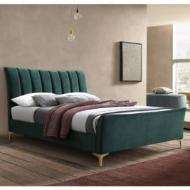 Clover Green Velvet Fabric Bed