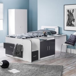 Cookie Grey and White Wooden Cabin Bed