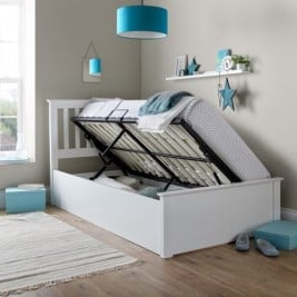 Francis White Wooden Ottoman Storage Bed