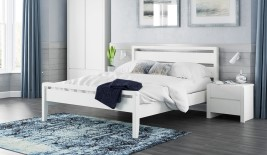 Hip Hop White Wooden Bed Frame