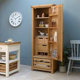 Kingham Oak Narrow Larder with Oak Crate