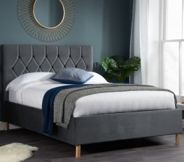 Loxley Grey Velvet  Bed