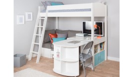 Mi Zone H5 High Sleeper Bed Frame with Pull-Out Desk and Corner Sofa
