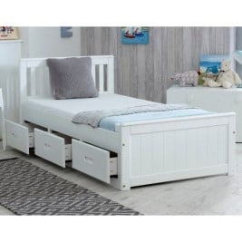 Mission White Wooden Storage Bed