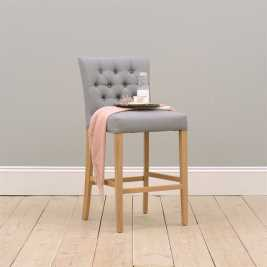 Peony Buttoned Bar Stool - Grey Linen