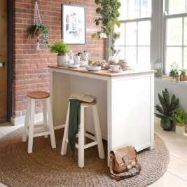 Portobello Painted Breakfast Bar Island with Stools