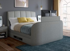 Seoul Upholstered Ottoman Bed Frame with 32 LED TV