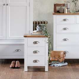 Snowshill White 3 Drawer Bedside