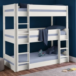 Trio White Wooden Triple Sleeper Bunk Bed