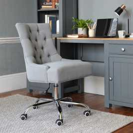 Upholstered Office Chair - Grey Linen