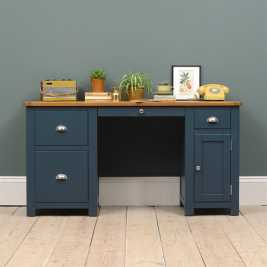 Westcote Blue Double Pedestal Desk