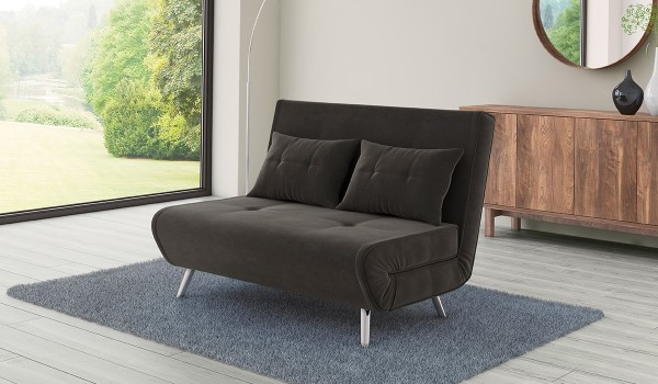 Cameo Dark Grey Velvet Upholstered Sofa Bed