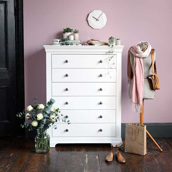 Chantilly White Tall 6 Drawer Chest Want Mattress