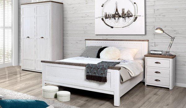 Genoa White Wooden Bed Frame