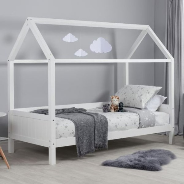 Home White Wooden Treehouse Bed
