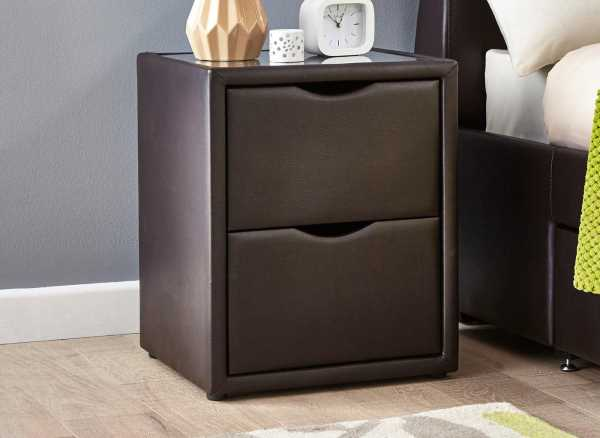 Lucia Brown Faux Leather 2 Drawer Bedside Chest