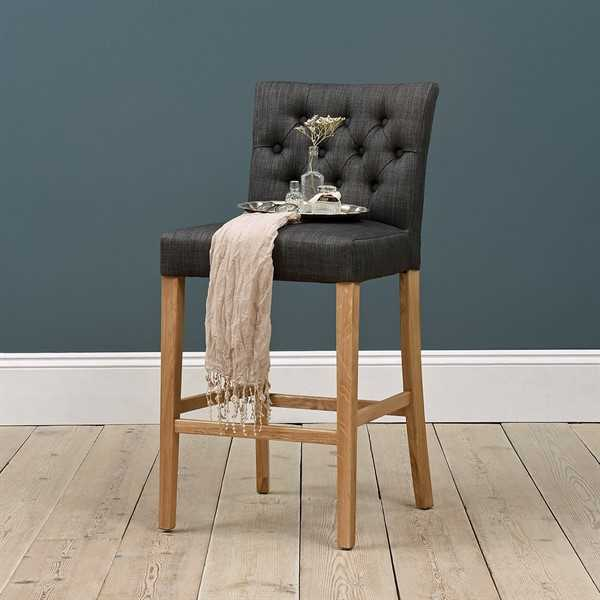 Peony Buttoned Bar Stool - Charcoal Linen