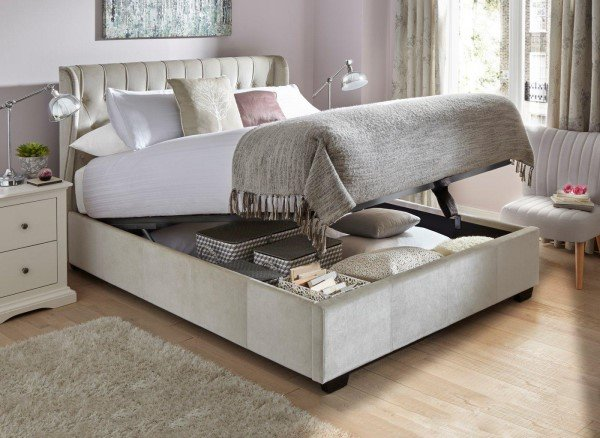 Sana Fabric Upholstered Ottoman Bed Frame