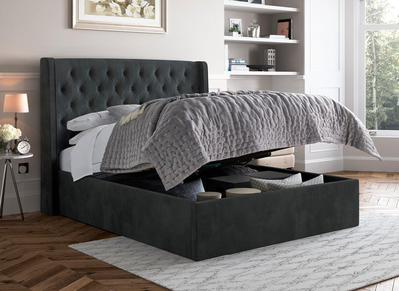 Excellent Deacon Fabric Upholstered Ottoman Bed Frame Andrewgaddart Wooden Chair Designs For Living Room Andrewgaddartcom