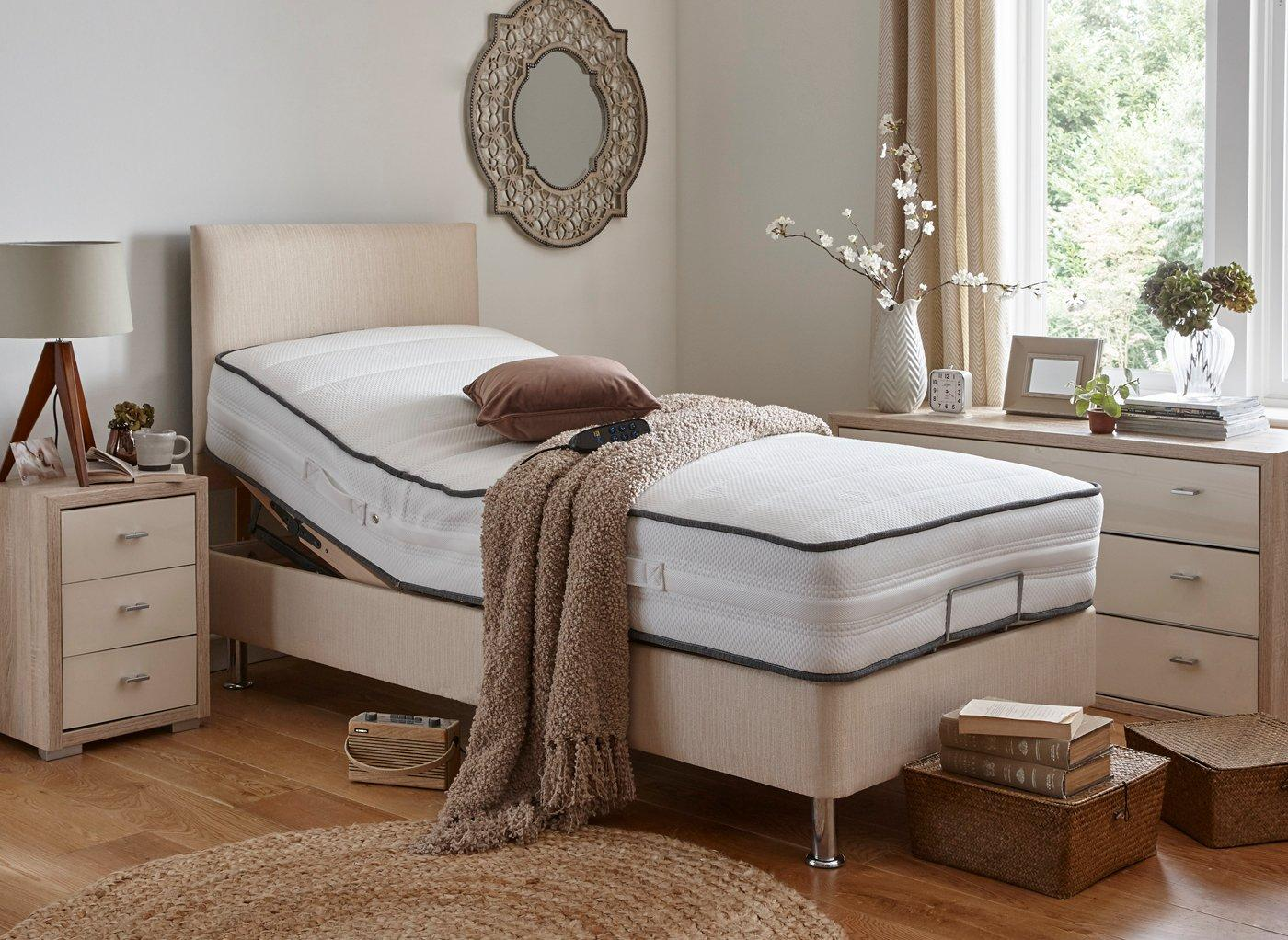 Westwood Mattress With Standard Oatmeal Adjustable Divan Bed On Legs - Medium Firm BEIGE